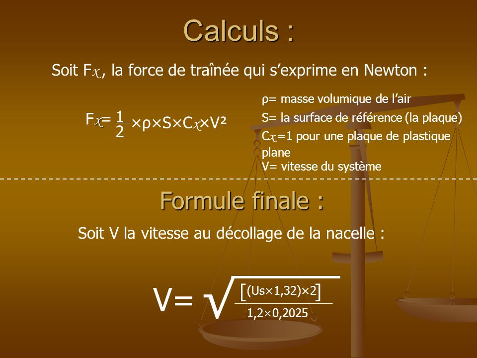 √ V= Calculs : Formule finale : [ ]